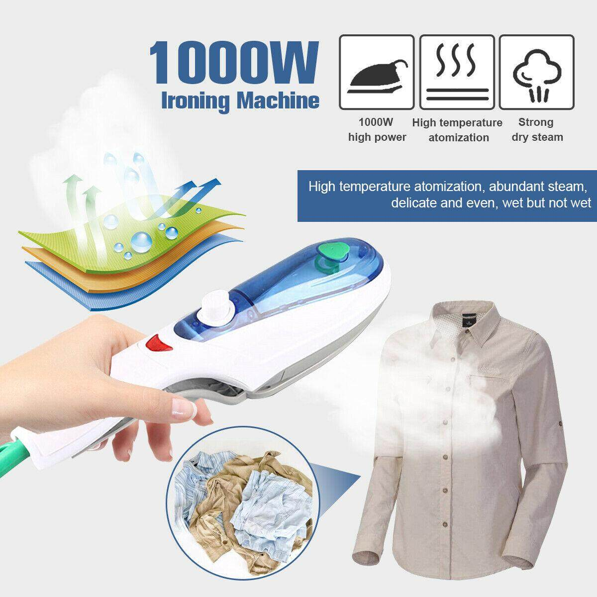 Portable Household Appliances Handheld Steam Iron Garment Fabric Laundry Cloth Wrinkle For Clothes 230V UK Plug 1000W