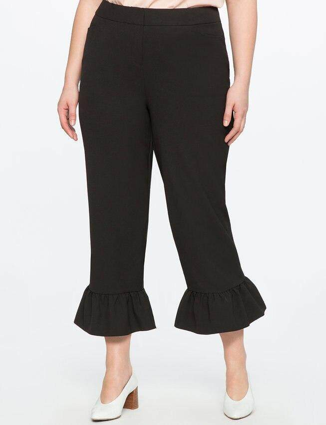 Ruffle Black Pants Women Wide Leg Pants Plus Size 5xl 6xl Flare Trousers High Waist Women Clothes 2612.