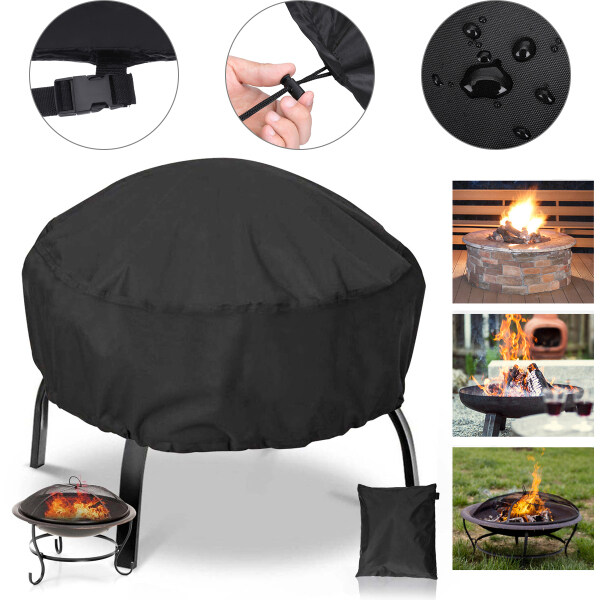 600D polyster fabric Fire Pit Cover Round, Black, for Round Patio Fire Bowl, NASUM, Weatherproof, Waterproof