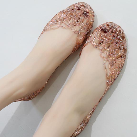 Giày thuyền nữ thời trang mới Giày đế bệt ren thoáng khí Giày đế bệt đính đá thạch giá rẻ