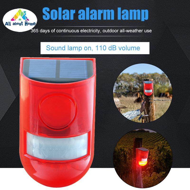 ABH Solar Alarm Lights Motion Detector 110db Alarm Waterproof Security Siren Light