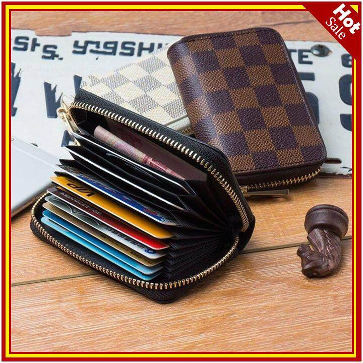 07116f0071b8 PU Leather Credit Card Holder Travel Wallet for Men and Women Lattice-Brown  - intl