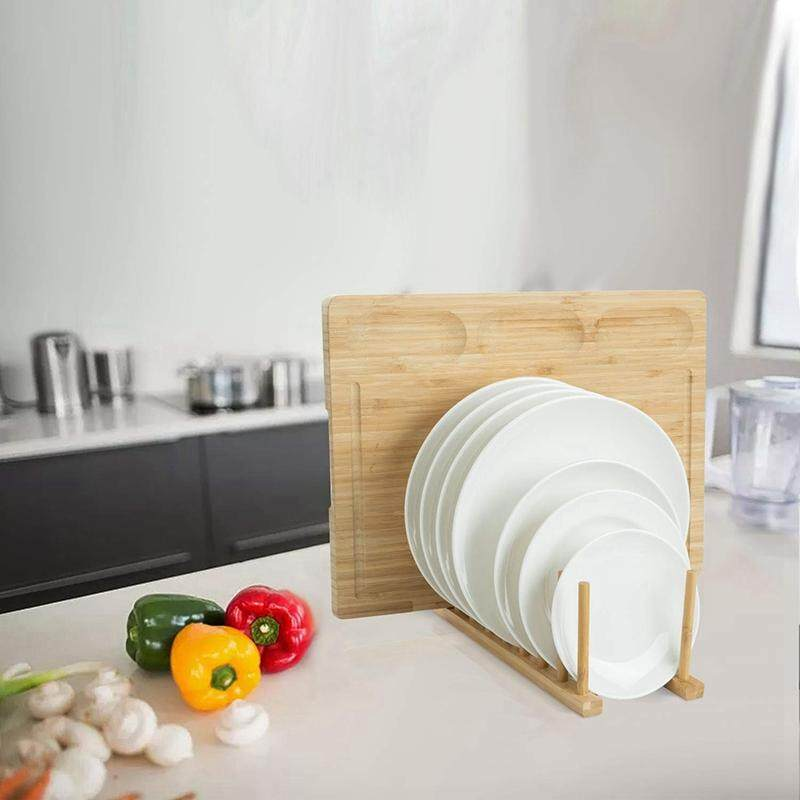 2Pcs Bamboo Dish Plate Bowl Cup Book Pot Lid Cutting Board Drying Rack Stand Drainer Storage Holder Organizer Kitchen Cabinet(Keep Dry)