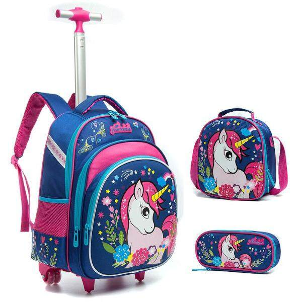 [Hely TOP] 3-piece Primary School Kids Girls Cartoon Unicorn Printed Trolley Backpack High Capacity Hard Shell Schoolbag Travelling Bag with Reflective Stripes