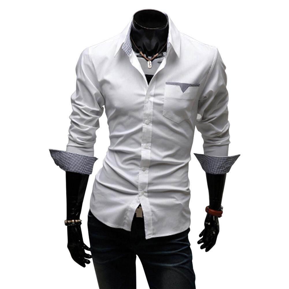 2555fffeff83 SZWL Men Casual All-match Business Solid Color Pocket Formal Shirts