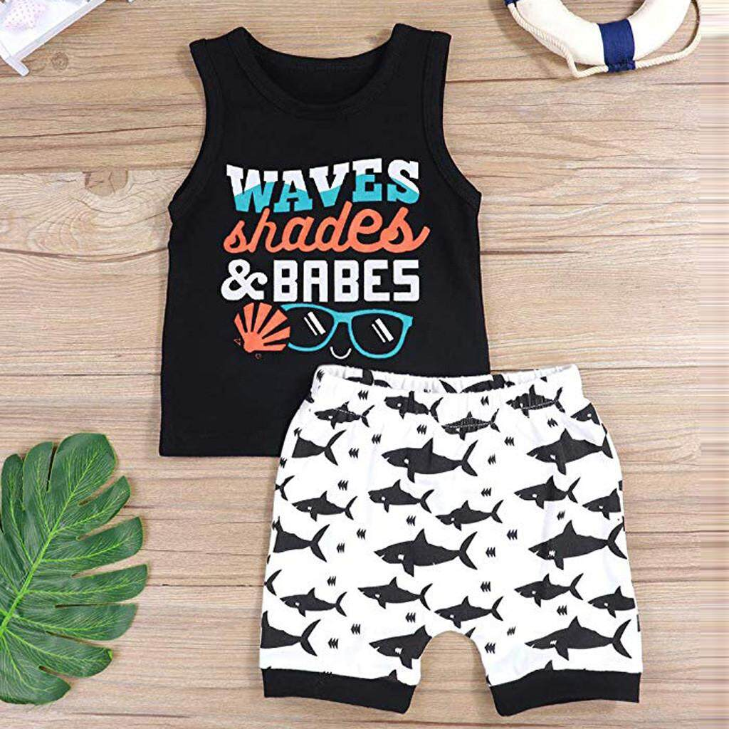Shorts Pants Outfits 2PC Toddler Kids Baby Boy Striped Hooded T-shirt Tank Top