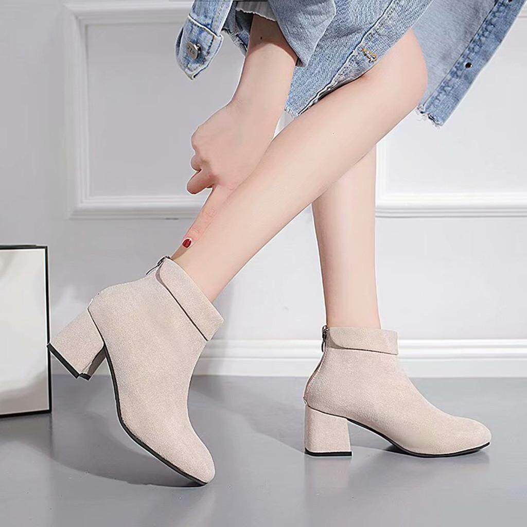 Anvieroes Women's Fashion Casual High Heels Square Heels Shoes Zipper Short Ankle Boots COD