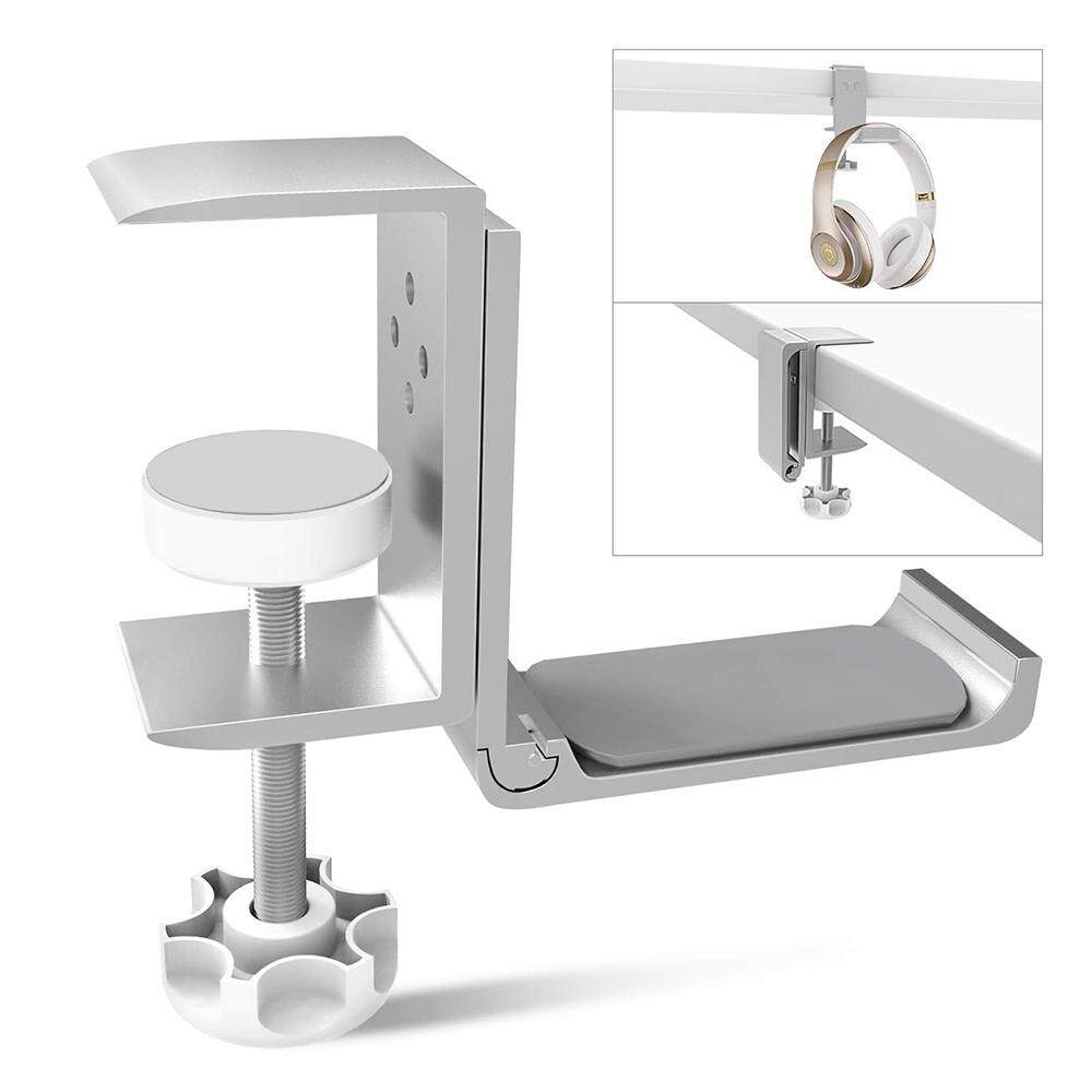 Universal Headset Hanger Headphone Hook Holder Desk Mount Stand Aluminum Alloy with Foldable Clamp Supports Horizontal Vertical Installation