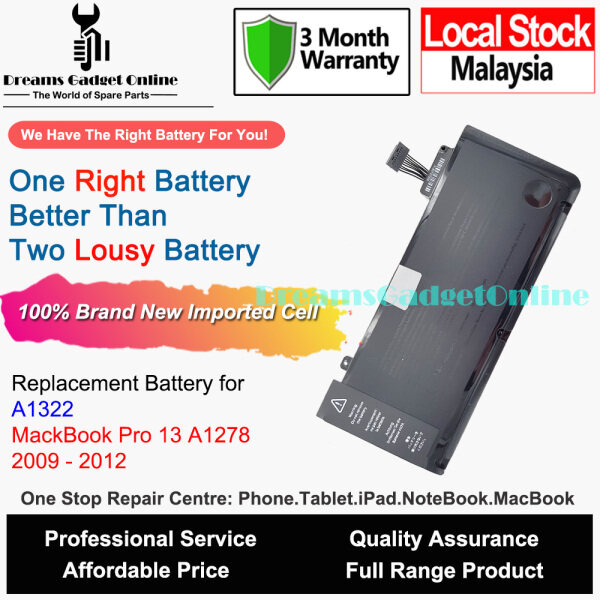 Replacement Battery A1322 For MacBook Pro 13 A1278 2009 2010 2011 2012 63.5wh Malaysia