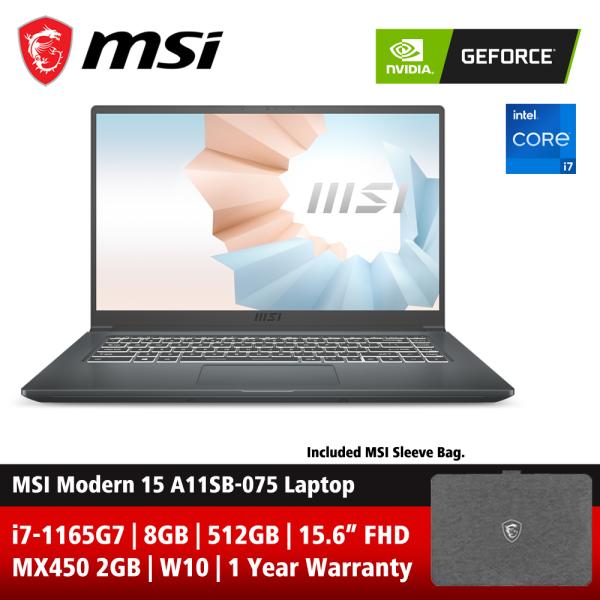 MSI Modern 15 A11SB-075 15.6 FHD Laptop Carbon Grey ( i7-1165G7, 8GB, 512GB SSD, MX450 2GB, W10 ) Malaysia