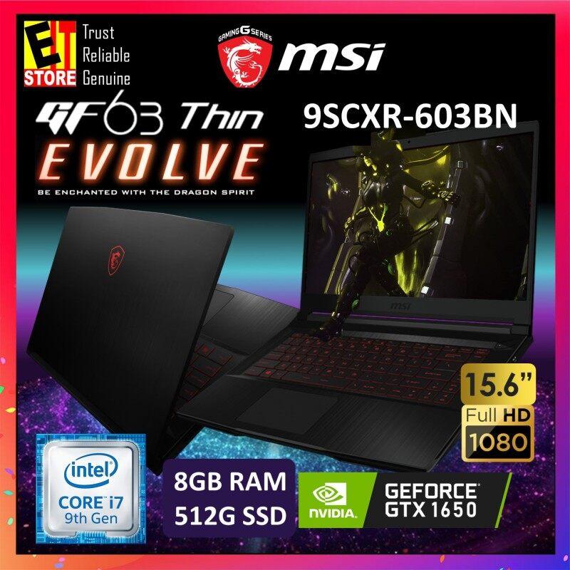 MSI GF63 THIN 9SCXR-603BN GAMING LAPTOP -BLACK (I7-9750H+HM370/8GB/512GB SSD/4GB GTX1650/15.6 FHD/W10/2YRS) + BACKPACK Malaysia