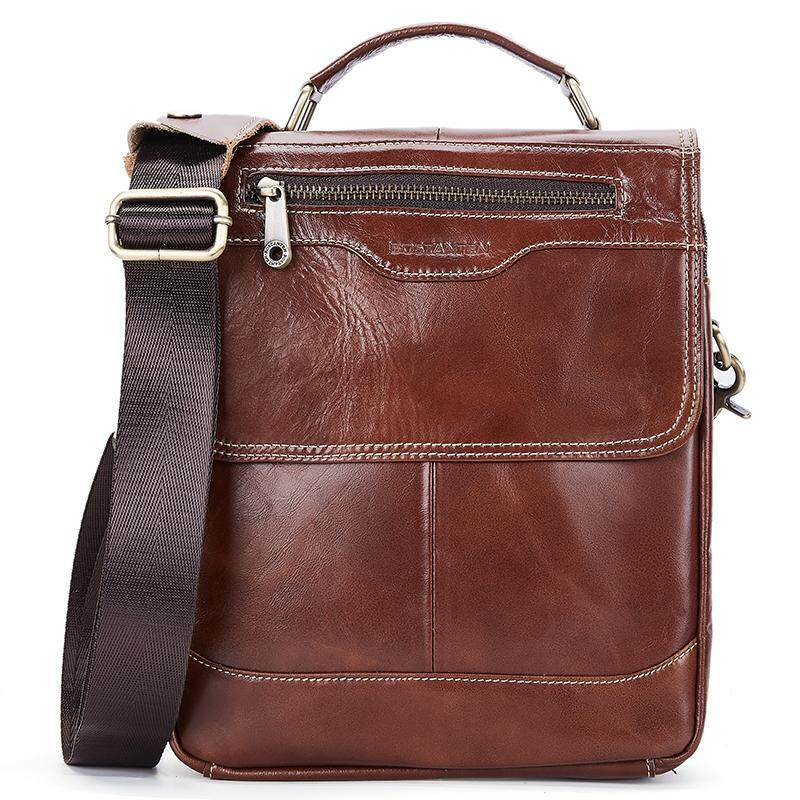 BOSTANTEN Formal Genuine Cowhide Leather Casual Handbag Shoulder Bag For Men - BM1192072K
