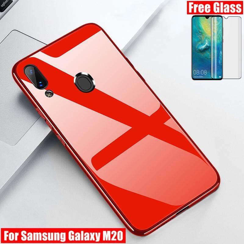 [Kaca Lunak Gratis] untuk Samsung Galaxy M20 Case Ultra Tipis Kaca Antigores Kembali Ponsel Lembut Bumper Silikon Kesing Pelindung