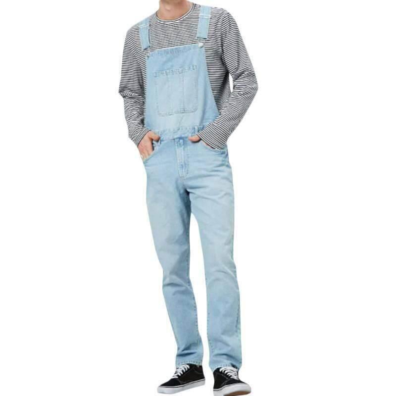 Mens Dungarees Denim Jeans Overalls Bib Suspenders Pants Jumpsuit Romper Casual