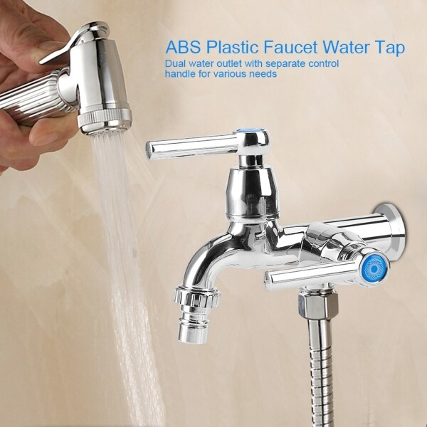 ABS Washing Machine Faucet Sink Basin Water Tap with Double Spout&Handle G1/2 Straight Handle