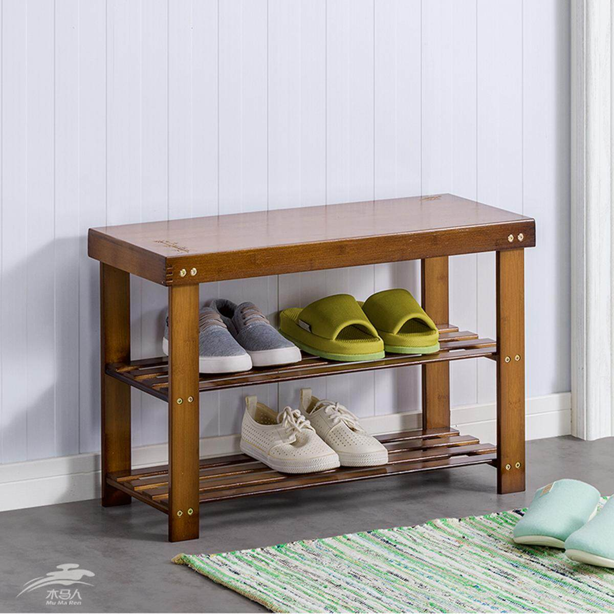 Mu Ma Ren Storage Benches Stools Multi-Purpose Shoe Stools Solid Wood Storage Stool Porch Multi-Layer Combination Shoe Racks