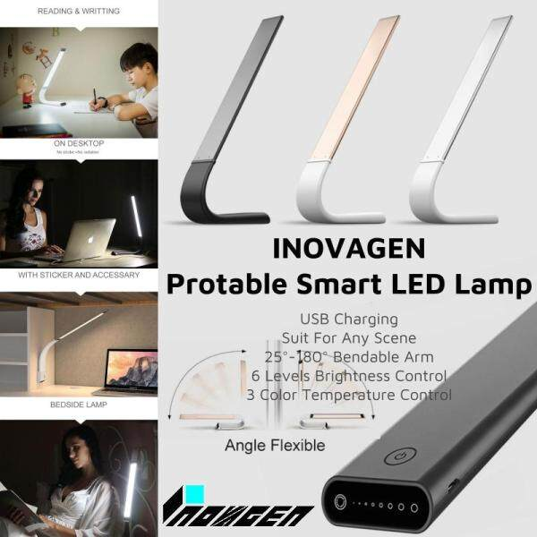(Freeshipping) INOVAGEN Smart LED Lamp Eye Protection Protable USB Charging Bendable Arm Brightness and Color Temperature Adjustable Desk Lamp For Study Work Bed Reading