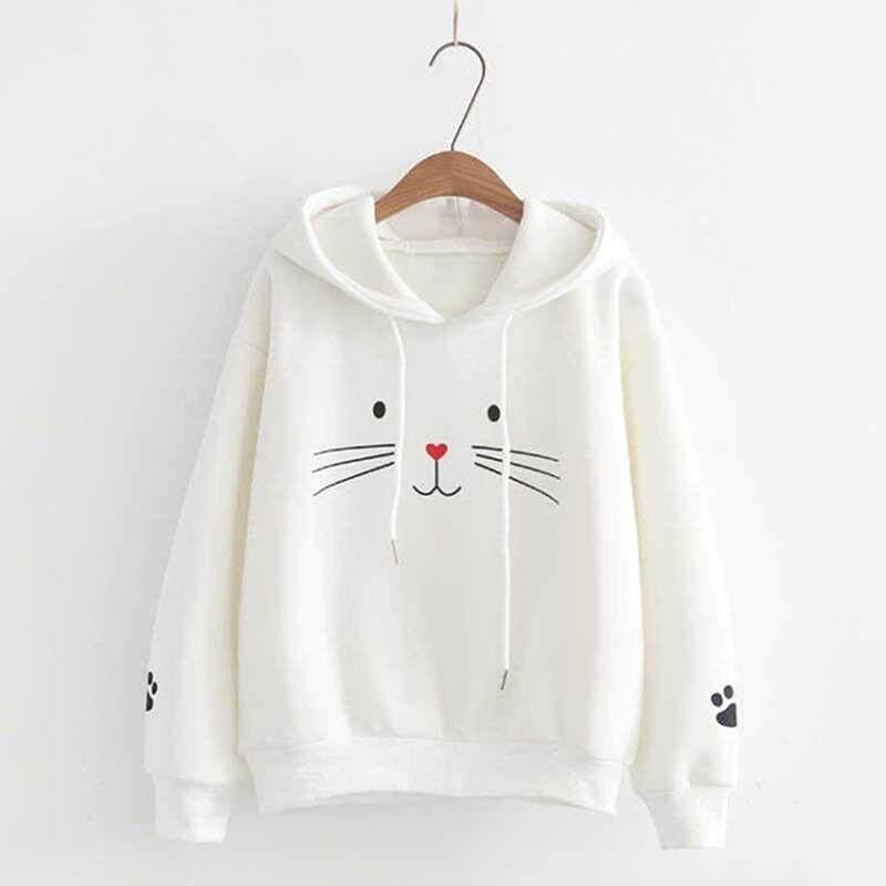 Wanita Kucing Dicetak Hoodie Sweatshirt Musim Gugur Berkerudung Sweater Jumper Pullover Tops By Xunwei.