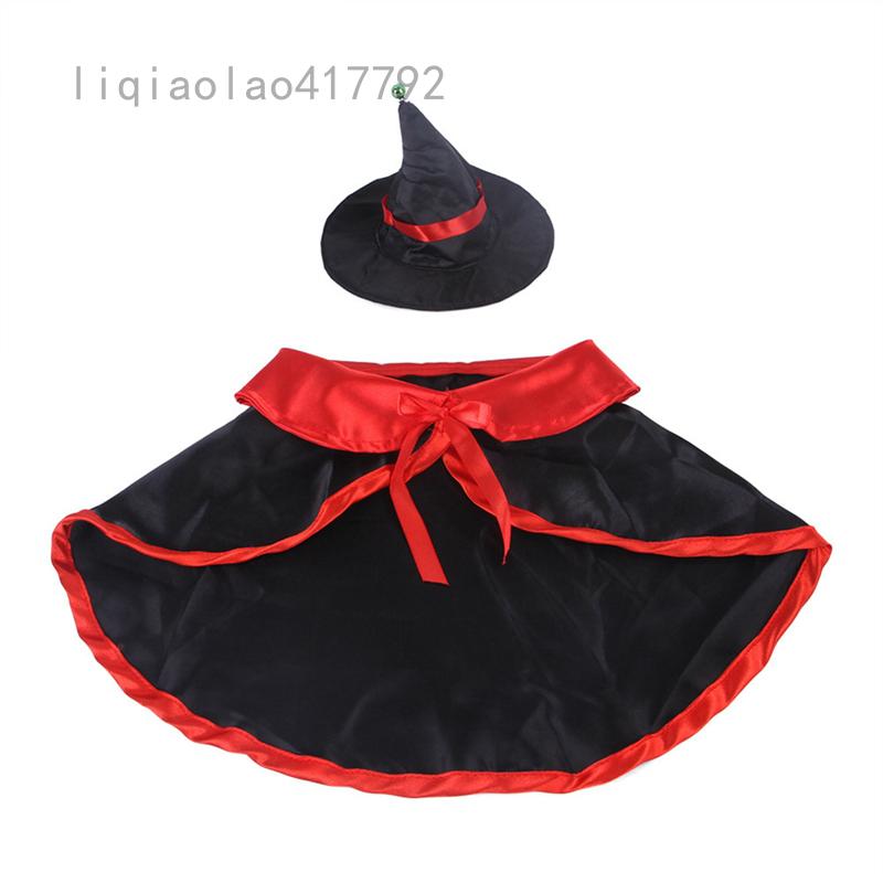 Bộ áo choàng phù thủy cho chó liqiaolao417792 caefeeje4, mũ Halloween