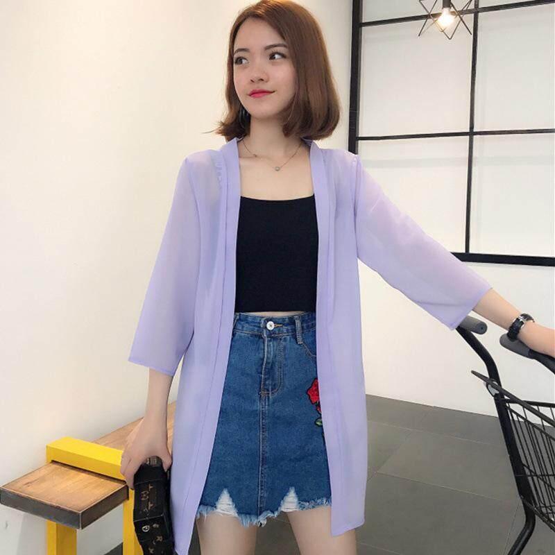 f3beadec0 Spring and Summer 2019 New Women's Dress Shawl Pearl Chiffon Sunscreen  Loose Women's Cardigan Mid-long Sunscreen