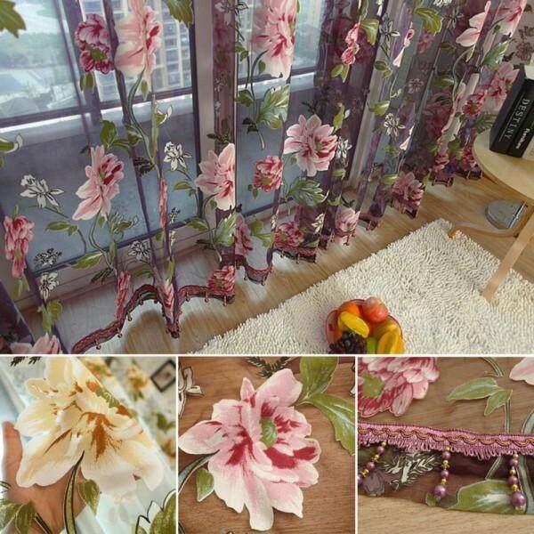 BolehDeals 200cm/250cm Length Flower Voile Sheer Window Scarf Swag Valance Curtain Decor