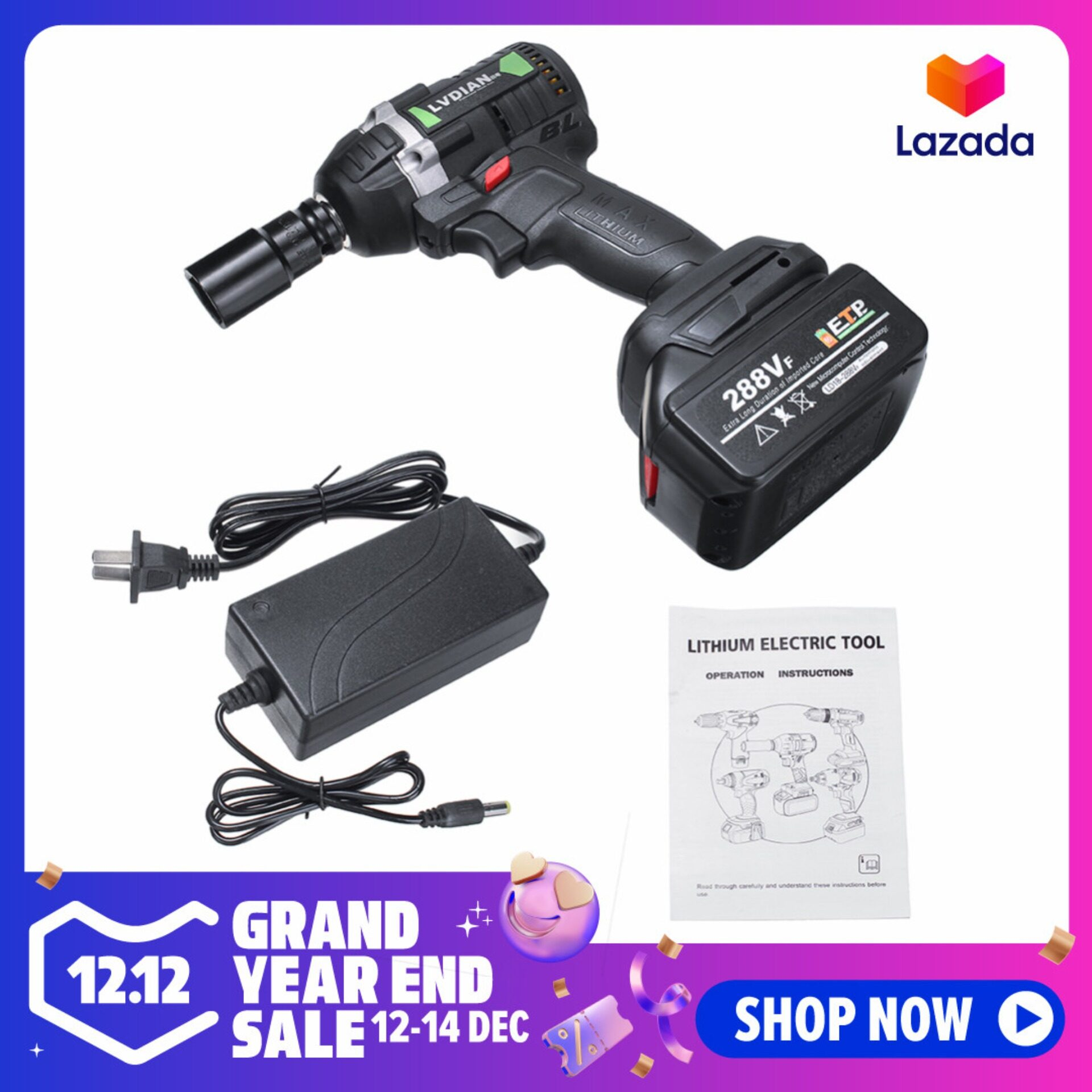 [12.12] 630N.M 288VF Electric Cordless Brushless Impact Wrench 19800mAh Ratchet Driver