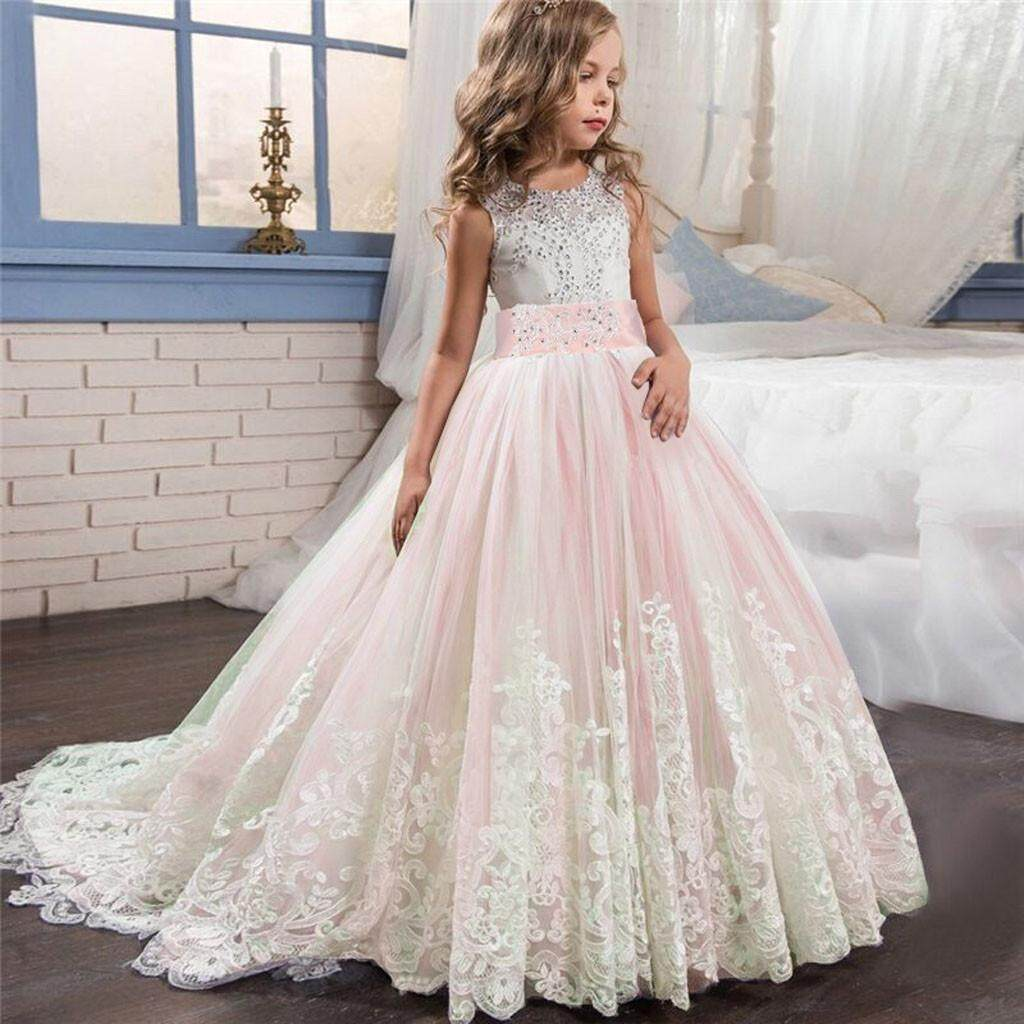 ac1b03b6f2 Myapple Lace Girl Princess Bridesmaid Pageant Tutu Tulle Gown Party Wedding  Dress