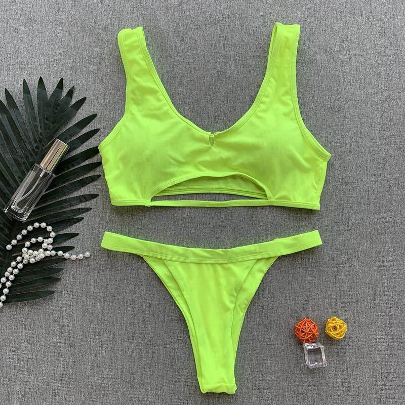 0d70a590c100d Peachtan Ribbed Neon Bikini Micro Bathers Bandeau Push Up Swimsuit Female  Bathing Suit Women High Cut