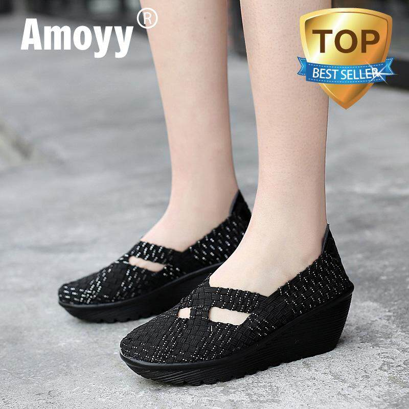 215ad944f7cc Amoyy 2019 Spring women platform Shoes women slip on casual hand made woven  shoes wedge sandals