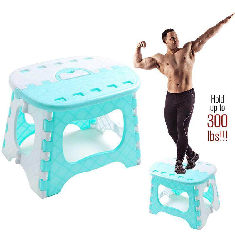 ตรัง Plastic Folding Stool for Kids Super Strong Small Chair Kitchen Stools Lightweight Resistant Garden One lb and open with Stool Skid Holdup to 300 Flip