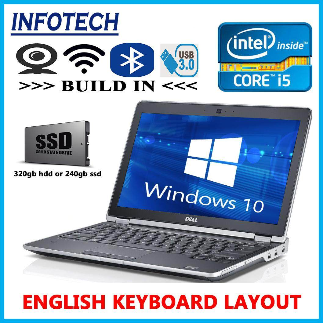 Dell Latitude E6230 Slim / intel core i5 3rd gen / 8GB or 4GB RAM / 320GB HDD or 240Gb SSD / 12.5 / w10pro / hdmi / Webcam laptop notebook (Refurbished) Malaysia
