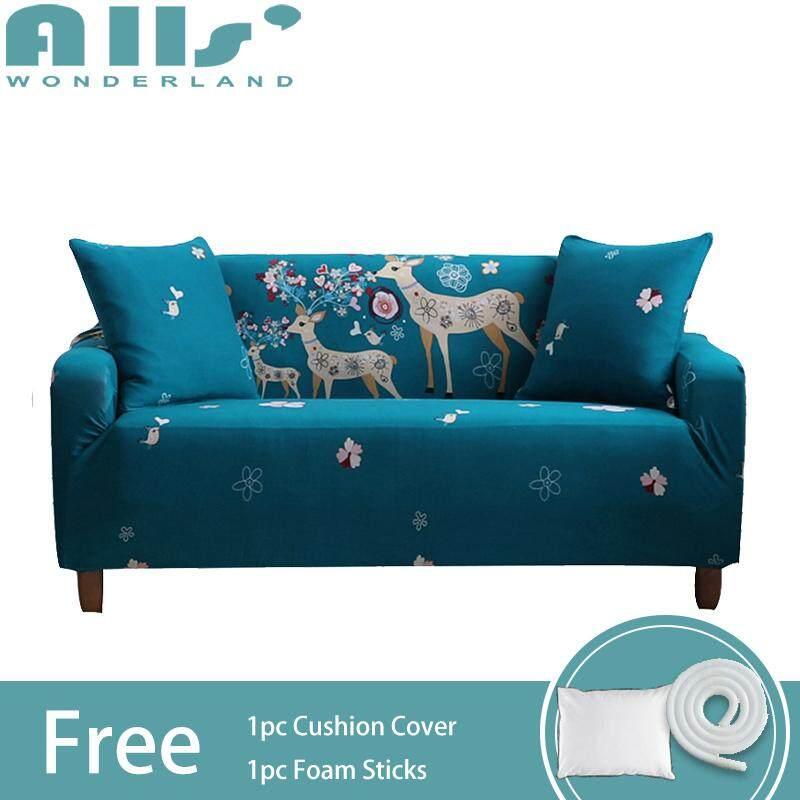 【Sofa Cover】1pc 2-Seater Cartoon Animal Pattern Elastic Sofa Cover Polyester Fabric Universal Corner Sofa Slipcover(Length Range for 145-185cm / 57.1-72.8)