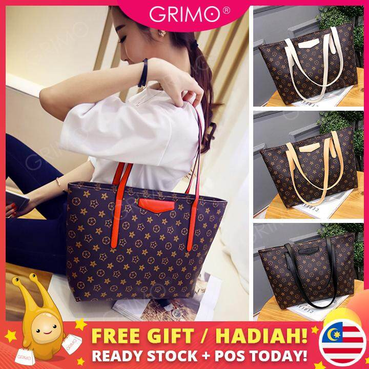 GRIMO Malaysia - Leisure Large Capacity Tote Bag PU Beg Shoulder Bag For Women  Lady Student 6d01cb8ec2