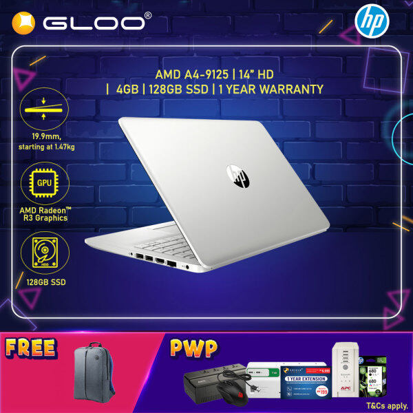 NEW HP Laptop 14s-dk0106AU 14 HD (AMD A4-9125, 128GB SSD, 4GB, AMD Radeon R3, W10H) - Silver [FREE] HP Backpack Malaysia