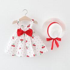Gấu Lãnh Đạo Bé Gái Dễ Thương Váy Mùa Xuân Và Mùa Hè Nơ Lưới Váy Công Chúa Cho Bé Gái Ngắn Tay Cho Trẻ Em Bé Gái Tập Đi Vest Trẻ Em Quần Áo Dự Tiệc Cherry Dot Váy Công Chúa Mũ Đính Nơ Trang Phục