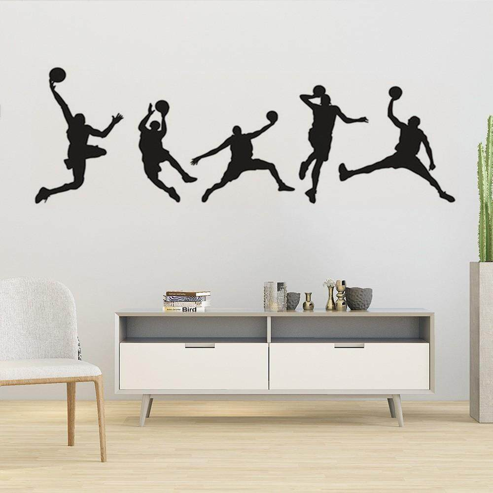 Basketball Slam Dunk Silhouette Wall Decal Sport Player Vinyl Wall Sticker For Boys Teens Living Room Bedroom Decoration Lazada Ph
