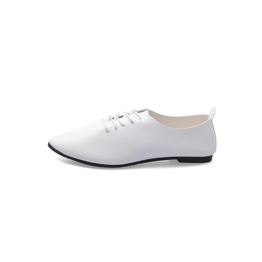 Giày Da Nữ Thường Ngày Mùa Hè, Mềm Duy Nhất, Toe Nhọn, Phụ Nữ Giày Dép, Giày Bệt Nữ, Giày Học Sinh Có Dây Buộc Màu Trắng Thường Ngày giá rẻ