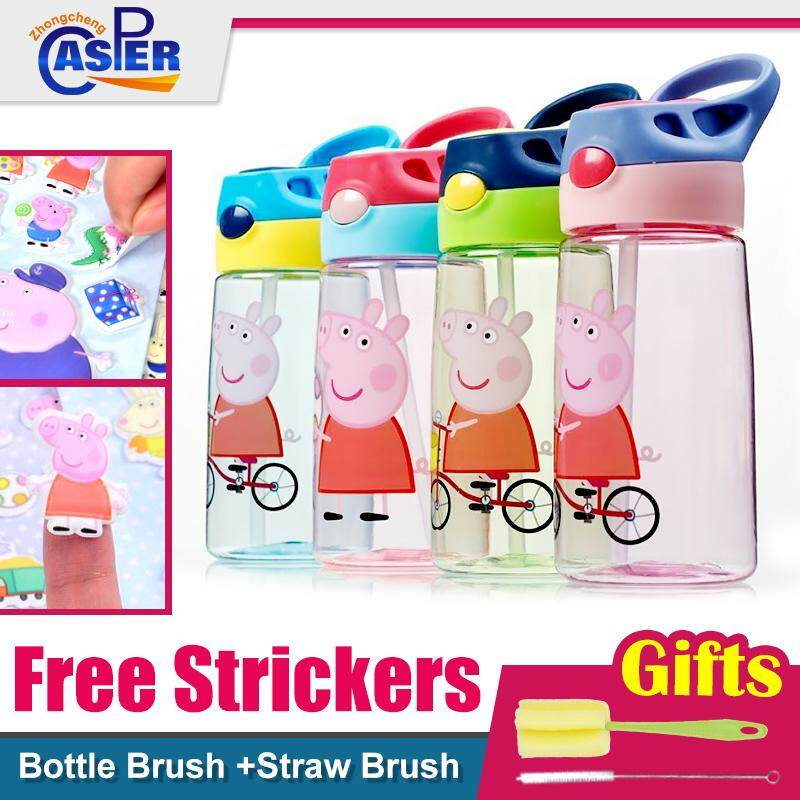 BPA-free Leak-Proof Peppa Pig Designs Plastic Water Bottle For Kids Free Strickers Bottle Brush Straw Brush
