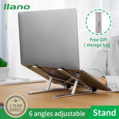 Llano xách tay hợp kim nhôm gấp máy tính xách tay đứng với 6 bánh răng nâng chức năng