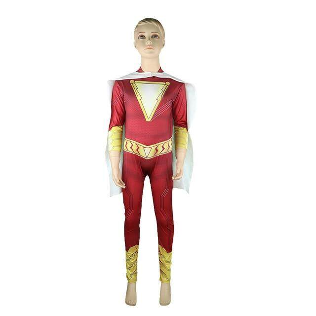 Movie Shazam Costume Kids Jumpsuit With Cloak Superhero Shazam Cosplay Billy Batson Halloween Costumes For Kids Fancy Dresses Up