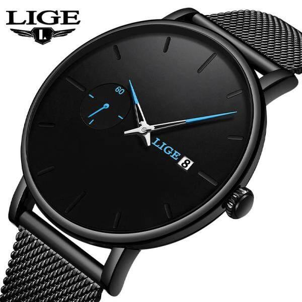 LIGE Men Watches Fashion Quartz Wristwatch Man Casual Slim Mesh Stainless Steel Waterproof Sport Jam Tangan Lelaki Malaysia