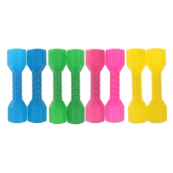 4 Pair Plastic Lightweight Dumbbell Outdoor Fitness Exercise Kids Kindergarten Sports Toy For Children Fitness Exercise