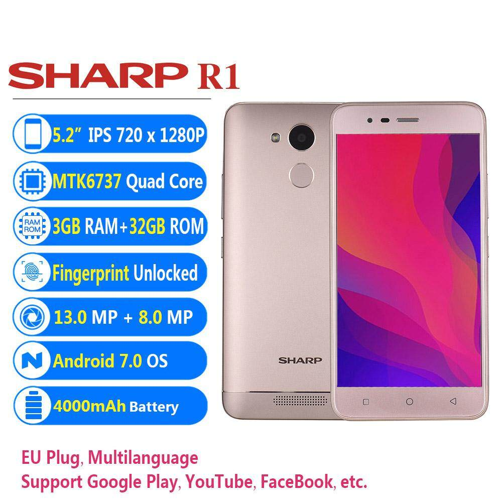 SHARP R1 Mobile Phone 5 2inch 3GB+32GB 13MP+8MP Camera 1080P Android 7 0  MTK6737 Quad Core Fingerprint Unlocked 4G Smartphone