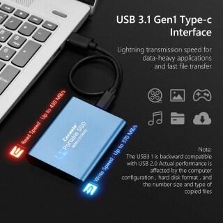 Gazechimp SSD USB 3.0 500GB Hợp Kim Nhôm, Ổ Cứng Thể Rắn Di Động Bên Ngoài Lưu Trữ USB 3.1 Gen-1 Kích Thước 7.5X5.5X1Cm 2.95x2.16x0.39inch thumbnail