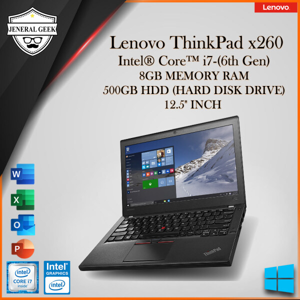 Lenovo ThinkPad x260 Series Intel® Core™ i7-(6th Gen) 8GB RAM 500GB GDD (HARD DISK DRIVE) 12.5 INCH (USED) Malaysia