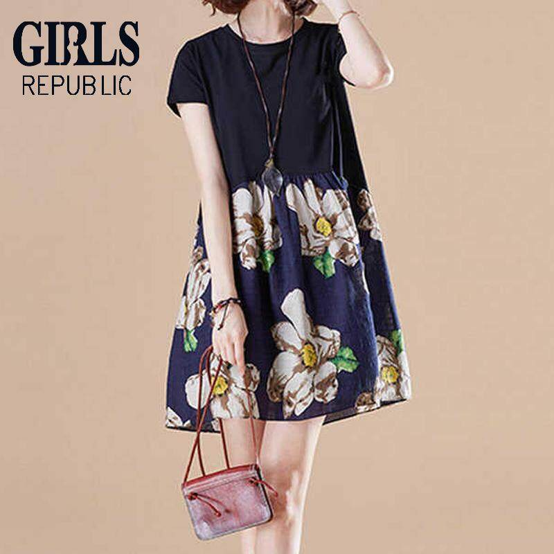 e3333960e88986 Girls Republic lowest price Fat mm plus fertilizer to increase  short-sleeved dress loose long