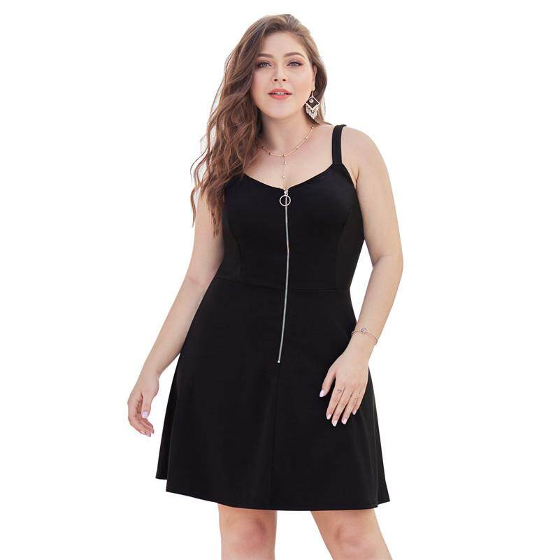 77e93495c9f MITAO CLOTHES Women Plus Size Zipper Backless Sexy A-line Black Dresses  XL-4XL