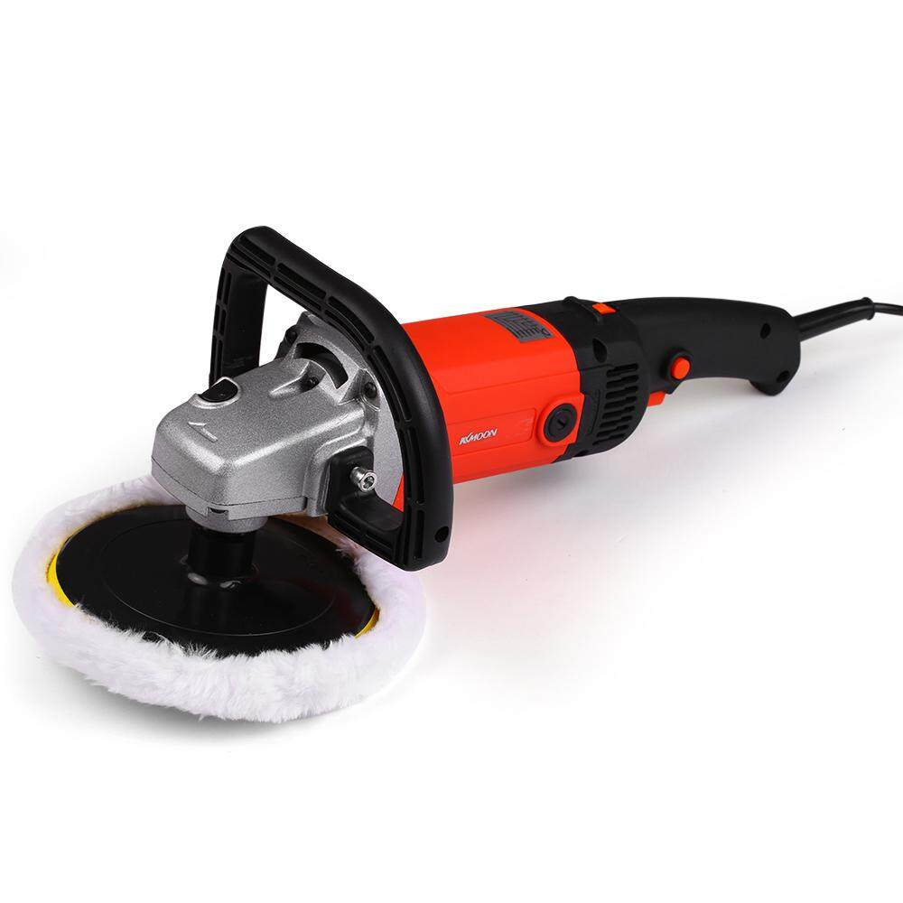 KKmoon 7 1400W Handheld Orbital Electric Car Waxing Polisher Machine M14 Polisher 180mm Car Paint Care Variable Speed Household Marble Tile Floor Polishing Glazing tool / Black + EU