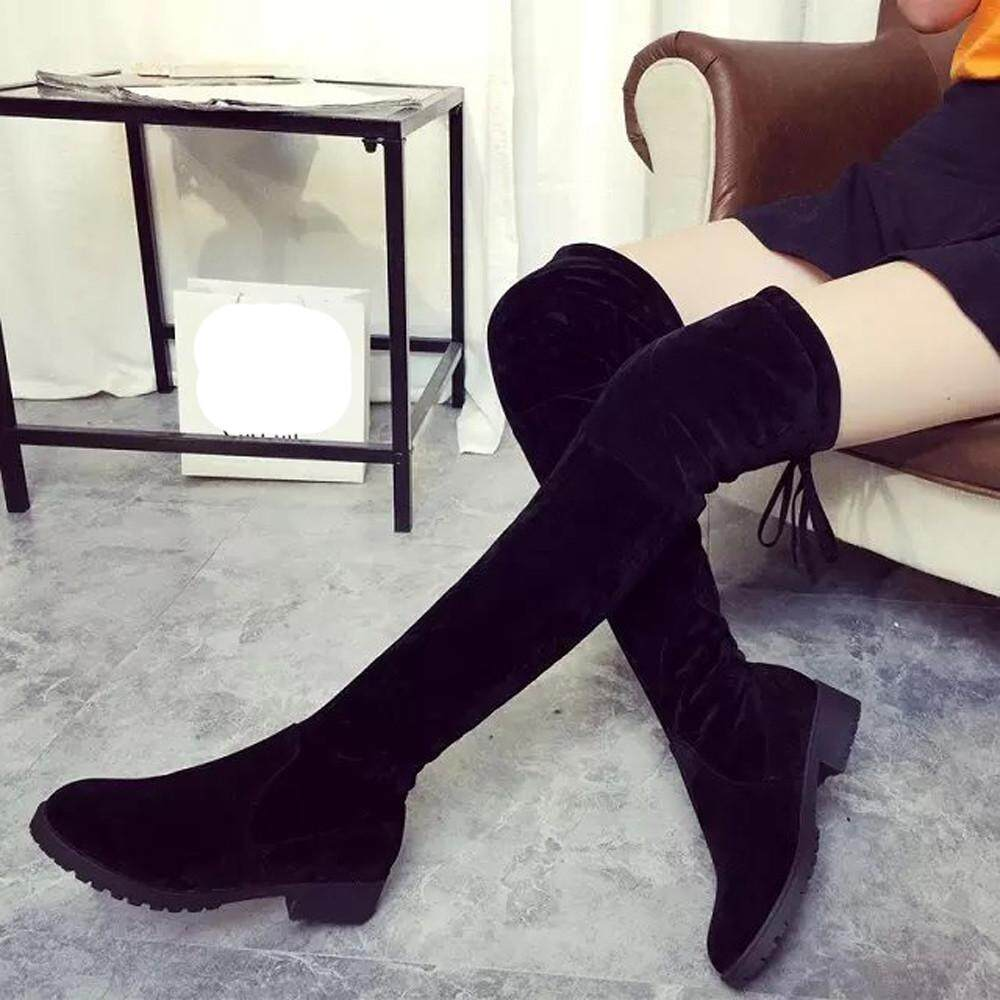 Women Winter Autumn Fashion Mid Heel Bottom Boots Knee High Leg Long Boots Free Shipping By Dunnshop.