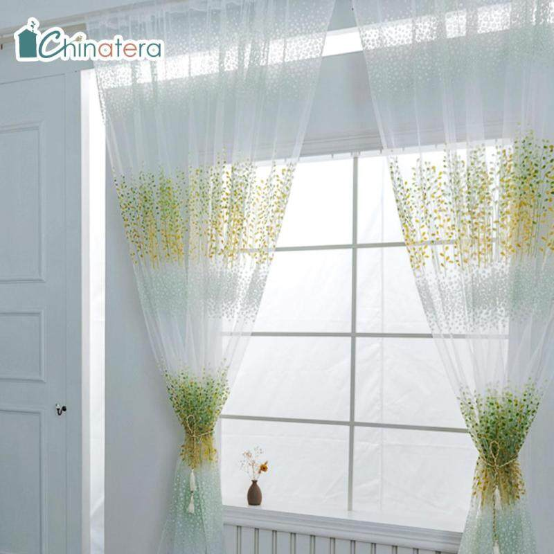 [Chinatera] 100X200Cm Lá In Phòng Ngủ Rèm Vải Tuyn Phòng Khách Một Nửa Màn Hình Cửa Sổ